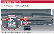 奥迪q5行李箱盖应急开锁