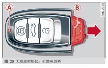 奥迪q5无线遥控钥匙中的LED和电池更换